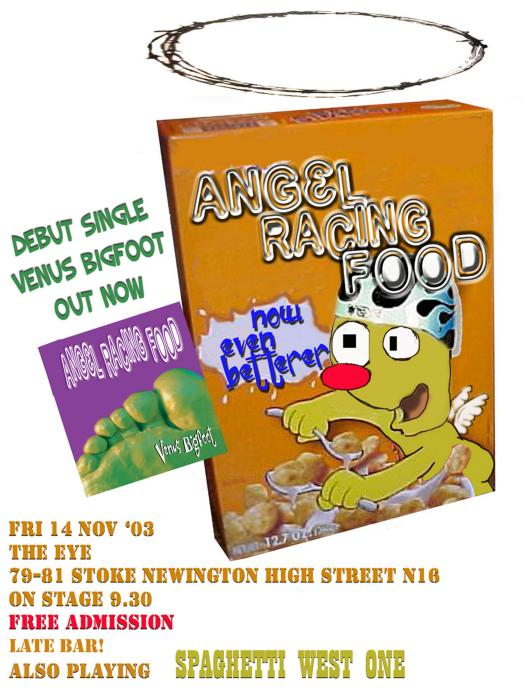 Angel Racing Food Stoke Newington Eye gig flyer